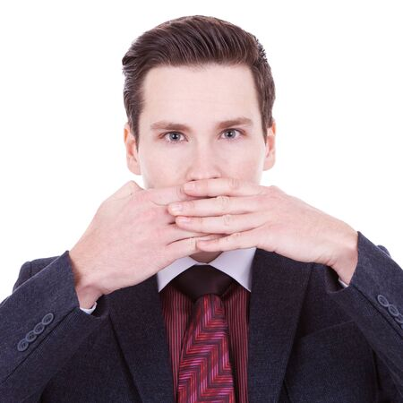 business man making the speak no evil gesture over white Stock Photo - 11890857