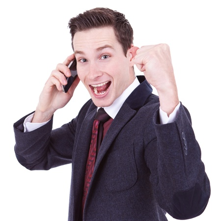 telephone salesman: happy business man with cellular phone winning over white