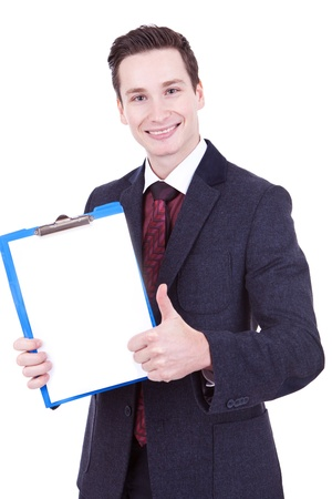 business attire teacher: business man presenting a clipboard and giving the ok for it Stock Photo