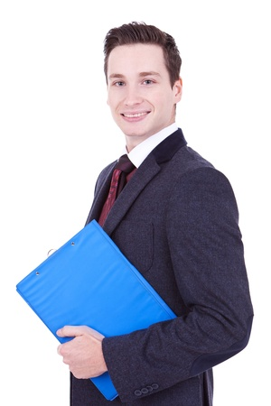 Business man holding clipboard isolated on white background  photo