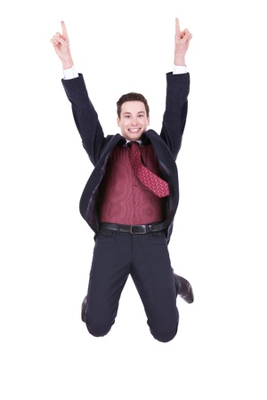 business man jumping in joy on white background  photo