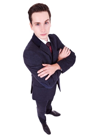 wide angle picture of a young business man over white  photo