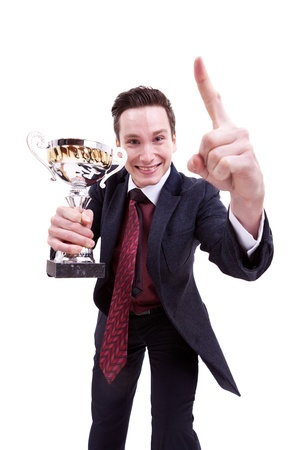 picture of an excited younh business man winning a nice tropy on white background photo