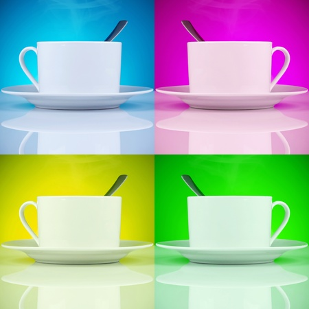 coffee cups in magenta, cyan, yellow and green background colors  photo