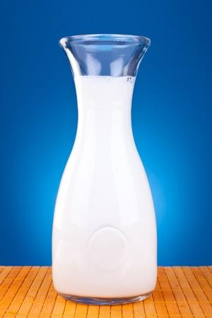 fresh milk in a retro bottle, on blue background photo