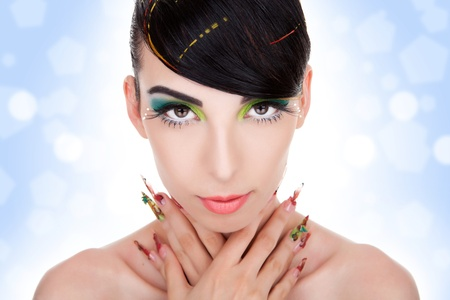 Beautiful  portrait of fashion woman model with glamour  makeup,  fancy nails Stock Photo - 11971739