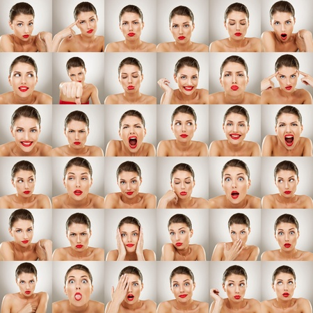 young woman face expressions composite isolated on white background  photo