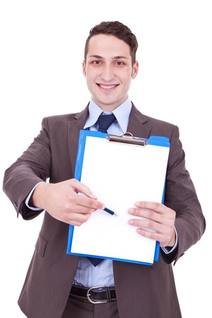 Happy smiling young business man showing blank clipboard, isolated on white background  Stock Photo - 12581961