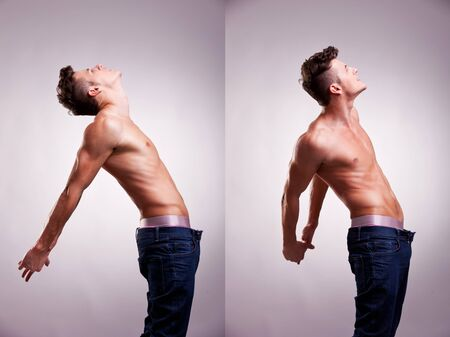 arrangement made of two artistic portraits of young topless man stretching on a gray background photo