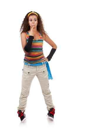 full length picture of a confused young woman wearing colorful casual sports clothes on white background photo