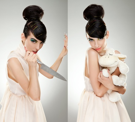 young woman killing her childhood. collage of two pictures with same woman, one with a knife inher hand wanting to kill the other one holding a teddy bear  photo