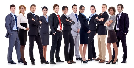Successful happy business team formed by business men and women, isolated on white Stock Photo - 12935009