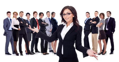 welcome people: young business woman welcoming you to her successful happy business team