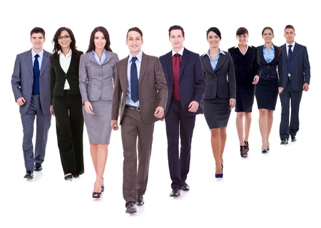 Successful happy business team walking towards the camera on white background Stock Photo - 12935013