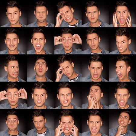 making faces: giovane uomo faccia espressioni composito su sfondo grigio scuro. bel giovane uomo rendendo facce