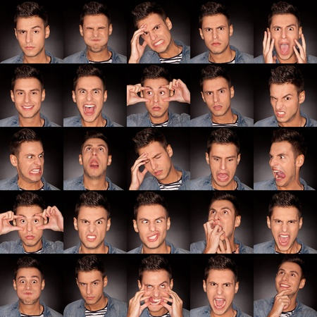emotion faces: young man face expressions composite on dark gray background . handsome young man making faces