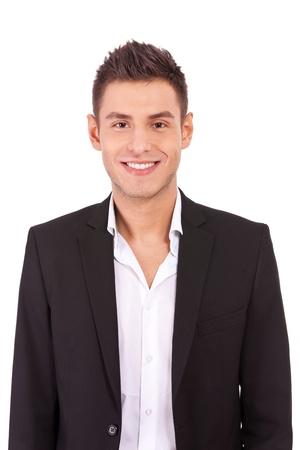 open collar: Happy casual business man wearing suit and open collar shirt without tie, smiling Stock Photo