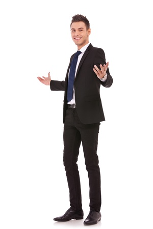 big welcome from a young business man over white background Stock Photo - 13310445