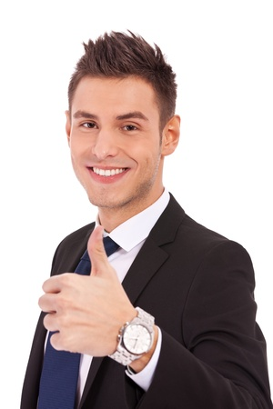 Happy smiling business man with thumbs up gesture, isolated on white background  Stock Photo - 13311692