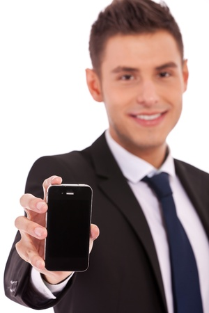 Image of man, business man, who shows the phone on white background photo