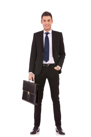 Business man with briefcase standing on white background Stock Photo - 13310618