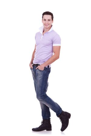 young casual man , full body picture, posing on a white background  photo