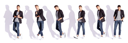 collage of six poses of a young casual fashion man on white background with hard shadows photo
