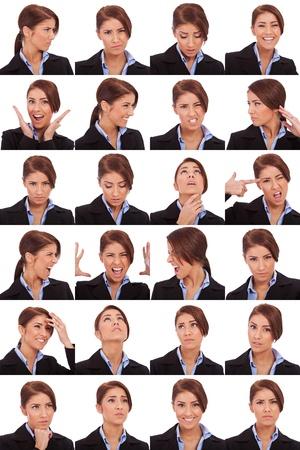 gestos de la cara: Collage de diferentes expresiones faciales joven mujer de negocios de Foto de archivo