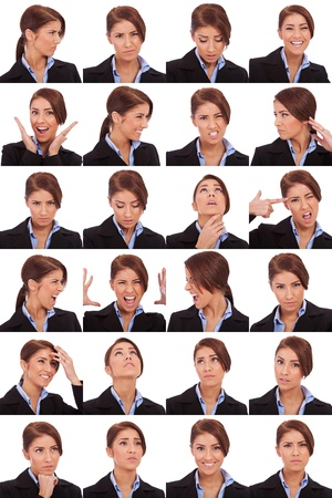 Collage of young business  woman's  different facial expressions  photo