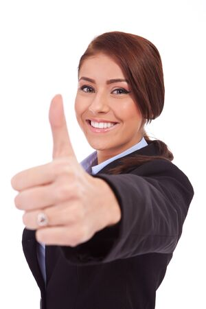 Young business woman making thumb up ok gesture. Isolated over white background Stock Photo - 13986717