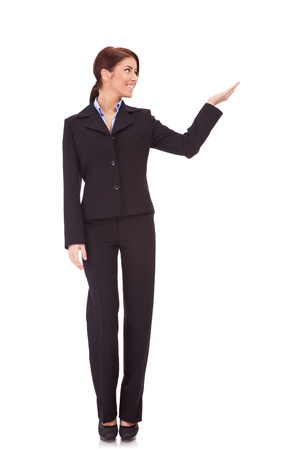 white body suit: full body picture of a business woman presenting something imaginary over white background