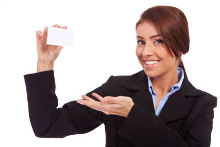 Portrait of smiling business woman showing blank business card, isolated over white background Stock Photo - 13986729