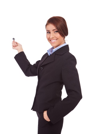 business woman or student showing you something with the marker in her hand photo