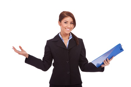 young business woman holding a  clipboard and welcoming you,  isolated on white background   photo