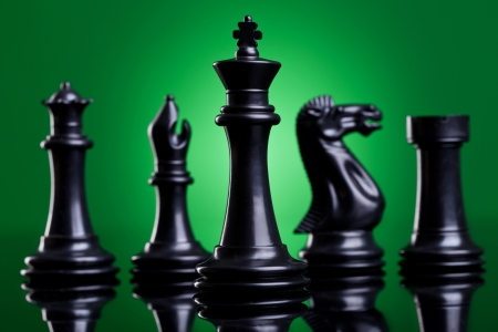 black king in front of the important chess pieces on green background photo