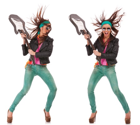 hot excited rock and roll woman holding her electric guitar and getting ready to break it. collage of two images, front and side view Stock Photo - 14637744