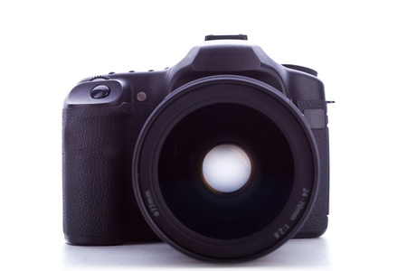 professional digital photo camera with huge wide angle lens isolated on white  photo