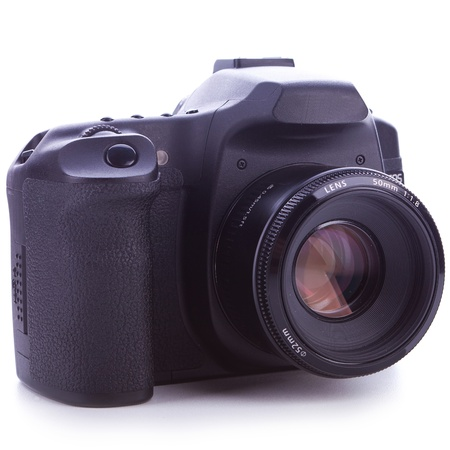 f18: digital slr photo camera with 50 mm f1.8  lens on white background