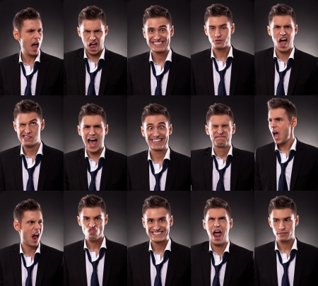 young business man in an arrangement of many funny faces on dark background photo