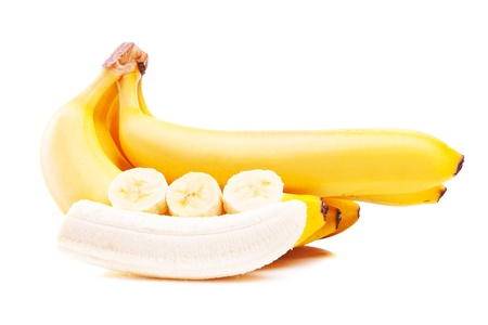 peeled banana: bunch of ripe bananas and slices  isolated on white