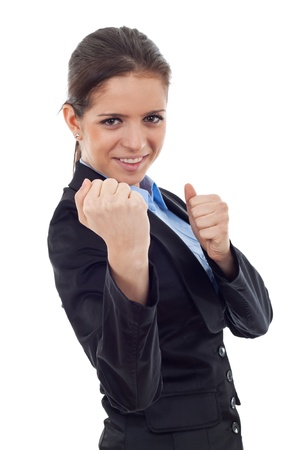 young business woman fighting with you - en garde position on white background photo