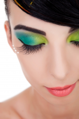 Close-up shot of beautiful woman with bright stylish make-up with closed eyes Stock Photo - 14930545