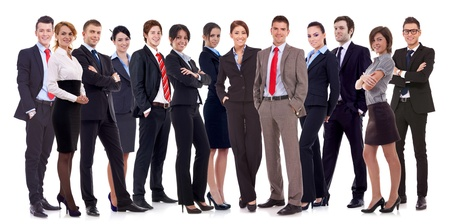 Successful happy business team formed by business men and women, isolated on white  photo