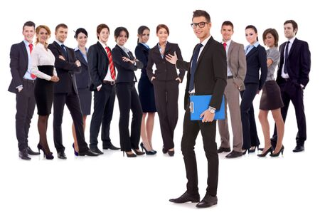 businessteam: Successful happy business team being presented by a young leader, on white background. young business man welcoming you to his business team