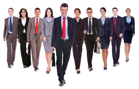 Successful happy business team walking towards the camera on white background  Stock Photo - 15175353