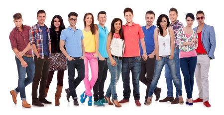 diverse family: group of casual happy people smiling and standing isolated over a white background  Stock Photo