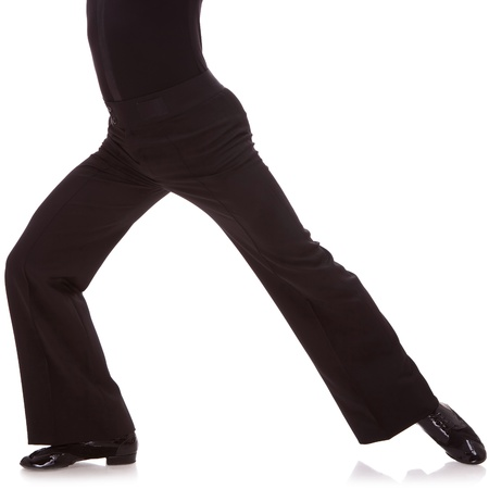 waist-down cutout picture of a male salsa dancer, on white photo