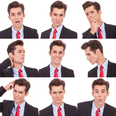 man screaming: Collage group picture of many business man facial emotional expressions