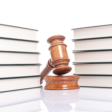 justice concept - law books and judges gavel on white background Stock Photo - 15736785