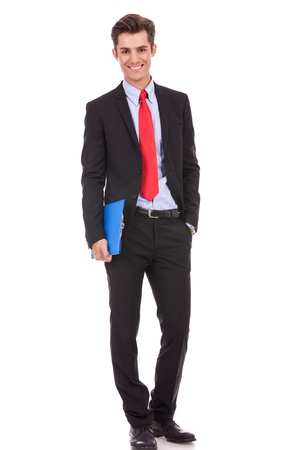 full body picture of a confident business man holding a clipboard photo
